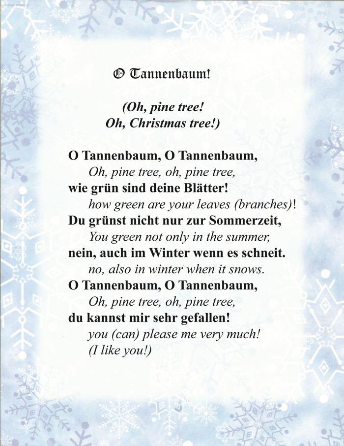 Oh tannenbaum lyrics kaagenbraassemvoetbal - Tannenbaum englisch ...